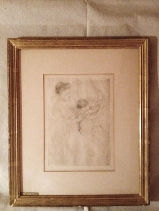 "Mary Cassatt, ""Looking into the Hand Mirror No. 2"", dry point on paper, ca 1905.  Private Collection."