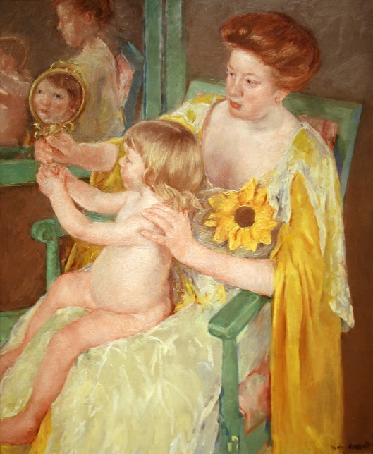 "Mary Cassatt, ""Mother and Child,"" oil on canvas, ca. 1905. Coll. National Gallery of Art (Washington DC)"