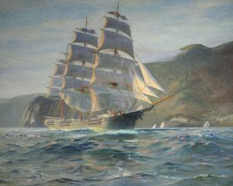 Downeaster Jabez Howes Sailing the Golden Gate. Photo courtesy Vallejo Gallery